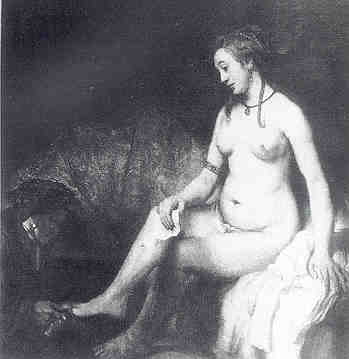 A painting by Rembrandt of Bathsheba at her toilet