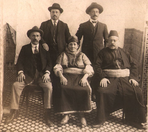 BOTBOL siblings: In front Haim BOTBOL (left), Meriem BOTBOL (center), and Joseph BOTBOL (right in oriental clothes). 2nd row: Abraham BOTBOL (left), Machlouf BOTBOL (with bowtie)