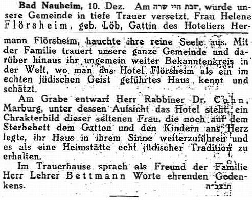 obituary of Helene LOEB><p>