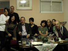 Joseph Mor with his family on his birthday, his daugher  Sigalit  her  husband  Natan   and their  daugher  Gal-Dorin on  the left,   with  Sigalit  son  Amir, his other  grandson  Dani  Doron - son of  Ronel and  Dorit, his mother   Dorit, her  dauther  Mika, Joseph's  son  Ronel.